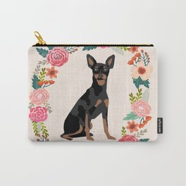 miniature pinscher floral wreath dog breed pet portrait pure breed dog lovers Carry-All Pouch