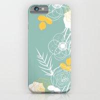 Aqua Retro Floral iPhone 6s Slim Case