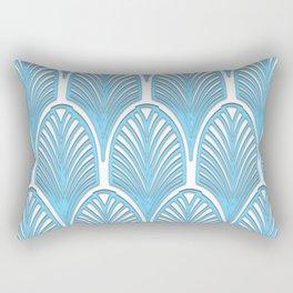 Art deco,deco,blue,white,elegant,chic,fan pattern, vintage,art nouveau,nelle epoque,victorian,beauti Rectangular Pillow