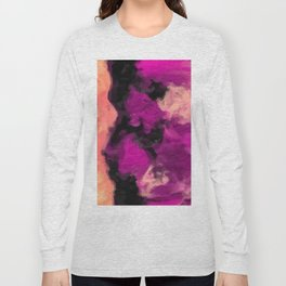 psychedelic splash painting abstract texture in pink purple black Long Sleeve T-shirt