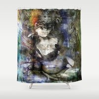 goth Shower Curtains featuring whitby goth by yairi