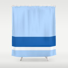 Solid Ice Blue w/ Navy Blue and White Divider Lines - Illustration Winter Cool Cold Abstract Shower Curtain