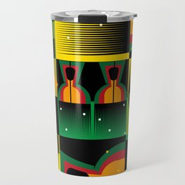Kente Inspired Comb Illustration Travel Mug