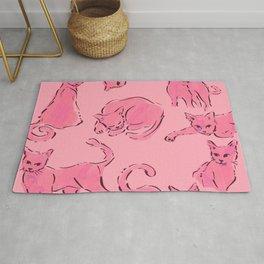 Cat Crazy pink black Rug