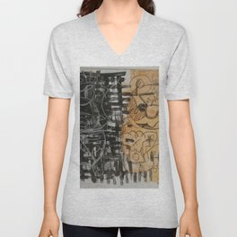 Abstract gold Unisex V-Neck