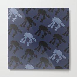 AT-AT Navy, Blue, Gray Metal Print