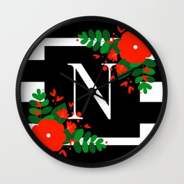 N - Monogram Black and White with Red Flowers Wall Clock