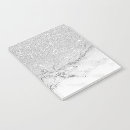 Modern faux grey silver glitter ombre white marble Notebook
