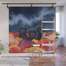 Three Black Cats in Autumn Watercolor Wall Mural