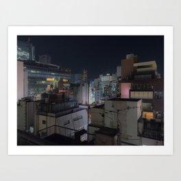 City urban downtown night Art Print