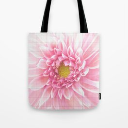 EUCLID pretty bright petal pink pixelated flower with graph detail Tote Bag