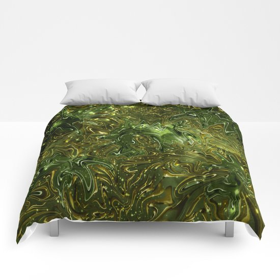 The Wolves Hidden in the Jade Green Galaxy Comforters