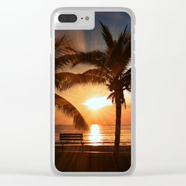 Palms Sunset 2 Clear iPhone Case