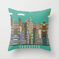 vancouver Throw Pillows featuring Vancouver skyline by bri.b