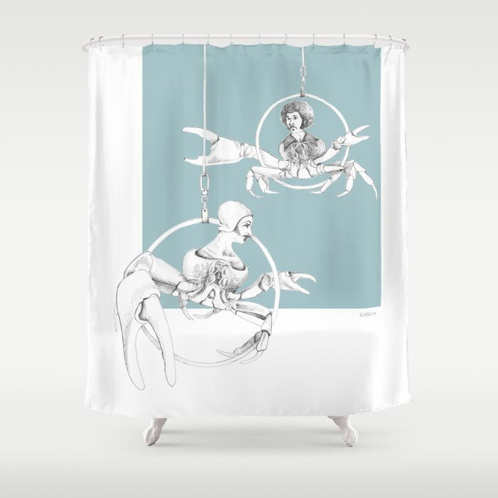 Weird Wonderful Crab Circus Shower Curtain By Vrijformaat