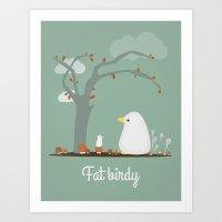 birdy Art Prints featuring Birdy by Jane Mathieu