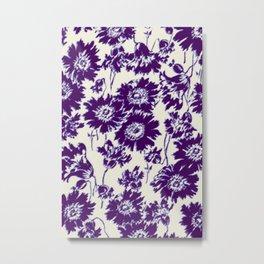 poppy in cobalt blue Metal Print