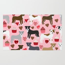 Pitbull valentine dog love rescue dogs valentines day hearts cupcakes dog gifts Rug