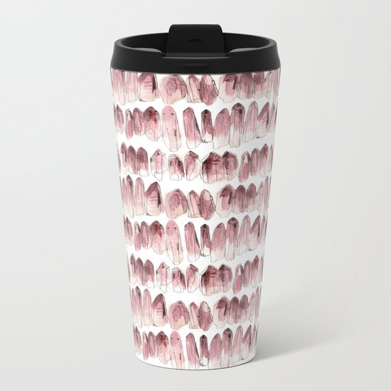 Crystals - Rose Quartz Metal Travel Mug