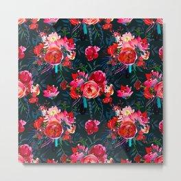 Neon pink fuchsia black watercolor modern floral Metal Print