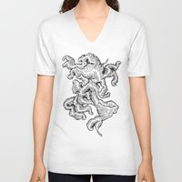 bug V-neck T-shirts featuring Bug by Mazed & Confused