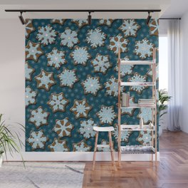 Frosted Gingerbread on Winter Night Sky Wall Mural