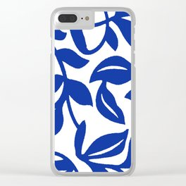 PALM LEAF VINE SWIRL BLUE AND WHITE PATTERN Clear iPhone Case