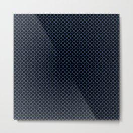 Black and Navy Peony Polka Dots Metal Print