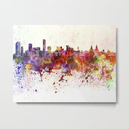 Liverpool skyline in watercolor background Metal Print