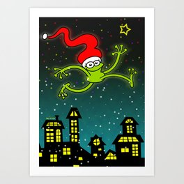 Christmas Frog Jumping out of Joy Art Print