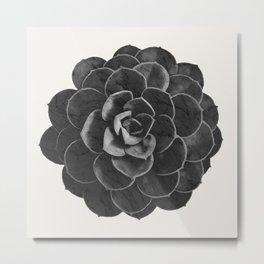 Succulent Black Marble Metal Print