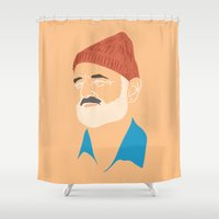zissou Shower Curtains featuring Steve Zissou by Jared Yamahata