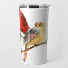The Perfect Pair - Male and Female Cardinal by Teresa Thompson Travel Mug