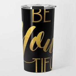 BeYoutiful Gold Foil Travel Mug