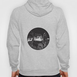 Belfry Tower On Hill Trees Circle Woodcut Hoody