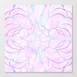 Abstract Mint Pink Flower Pattern Canvas Print