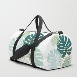 Tropical minimal / green, turquoise and gold monstera Duffle Bag