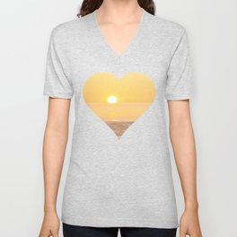 Peachy sunrise seascape Unisex V-Neck