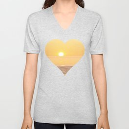 Peachy sunrise seascape Unisex V-Neck