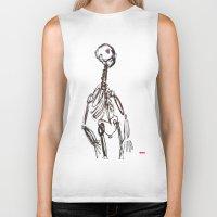 skeleton Biker Tanks featuring Skeleton by Myles Hunt