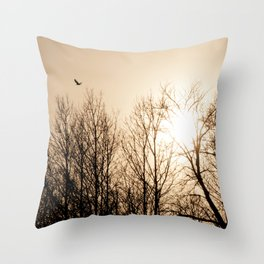 Bird Soaring Over Aspens Throw Pillow