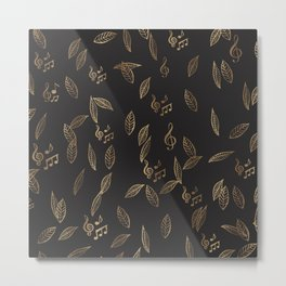 Abstract Gold and Black Musical Fall Leaves Metal Print