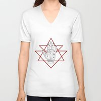 astronomy V-neck T-shirts featuring Astronomy Palm by alesaenzart