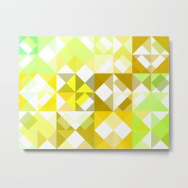 Pale Yellow Poinsettia 1 Abstract Triangles 1 Metal Print