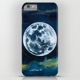 Full Moon Mixed Media Painting iPhone Case