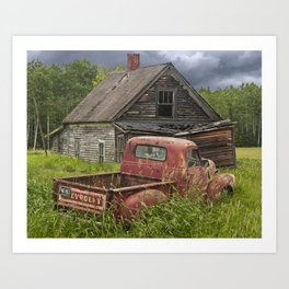Old Chevy Pickup and Abandoned Farm House Art Print