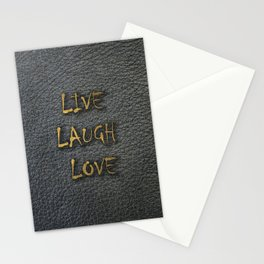 LIVE LAUGH LOVE black leather gold letters Stationery Cards