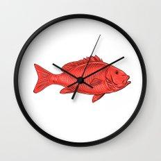 Australasian Snapper Swimming Drawing Wall Clock