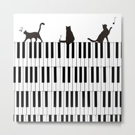 Piano Cat Metal Print