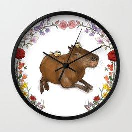 Capybara in Flower Wreath Wall Clock